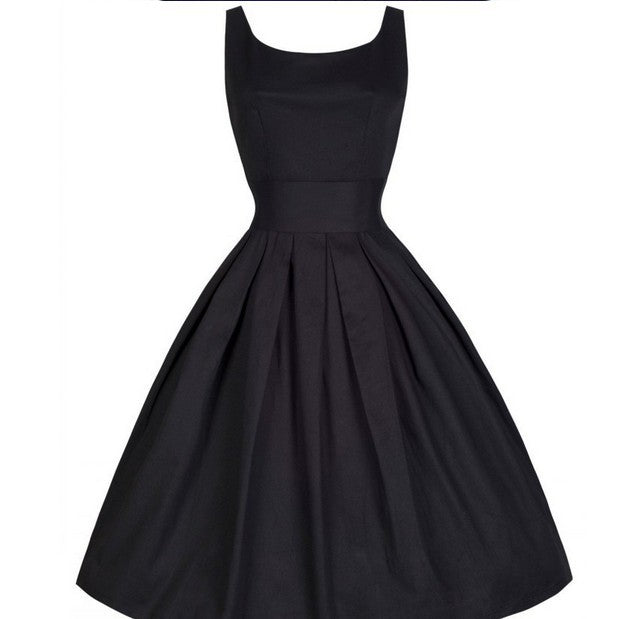 Pleated Scoop Neck A Line Dress