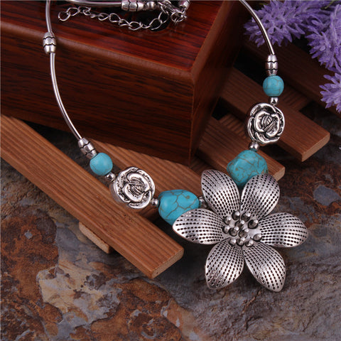 Bohemian Turquoise and Floral Necklace