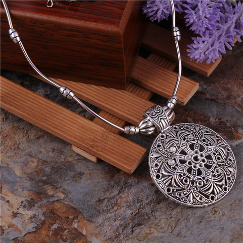 Mandala Inspired Metal Disc Necklace