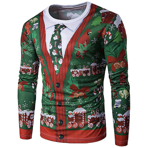 3D Christmas Crew Neck Mens Shirt - Theone Apparel