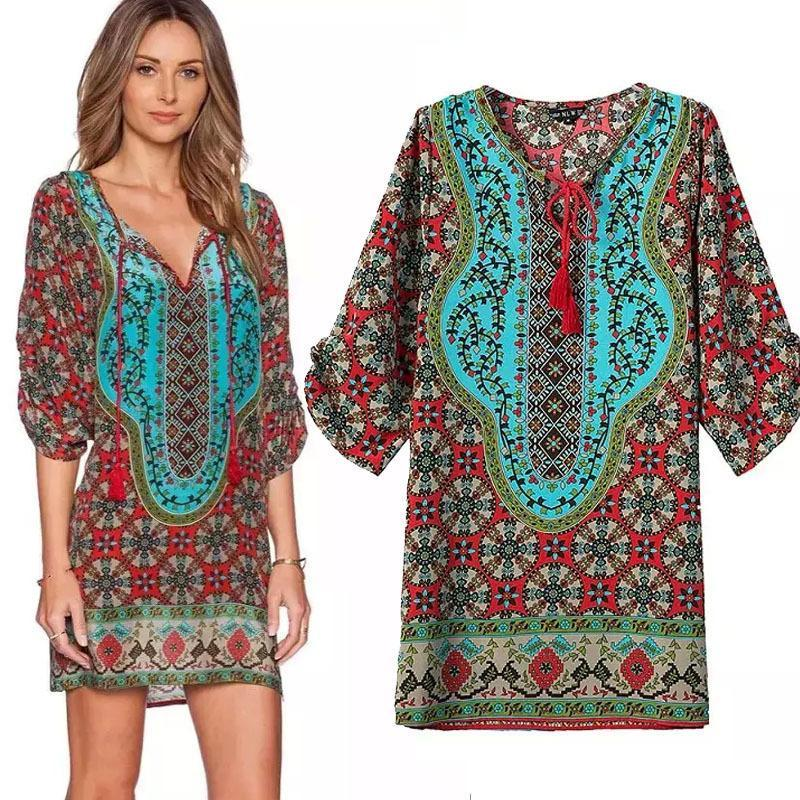 Bohemian Print Kaftan Mini Dress - Theone Apparel
