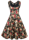 Floral Contrast Pleated Bodice Dress