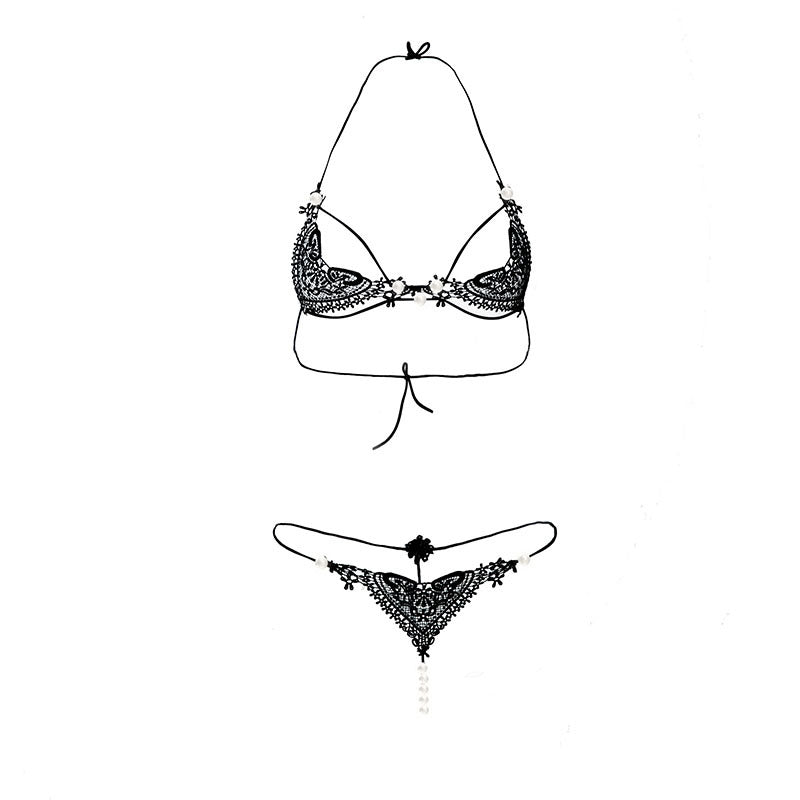 Pearly Cage Strap Bra and Panty Set