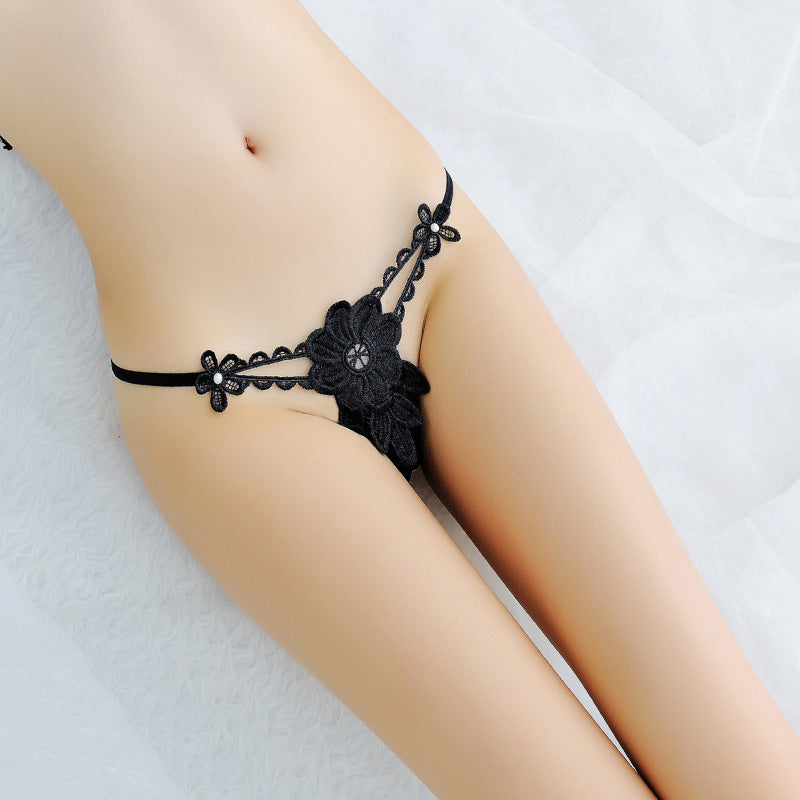 Embroidered Flower Thong Panty - Theone Apparel