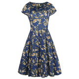 Floral Cap-Sleeve Sweetheart A-Line Dress