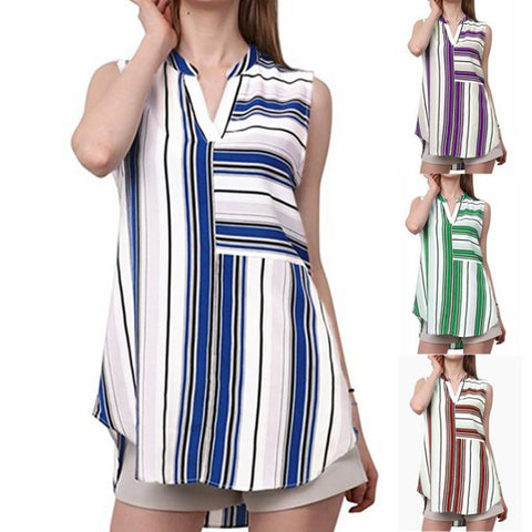 Mixed Stripe Notch Neck Tank