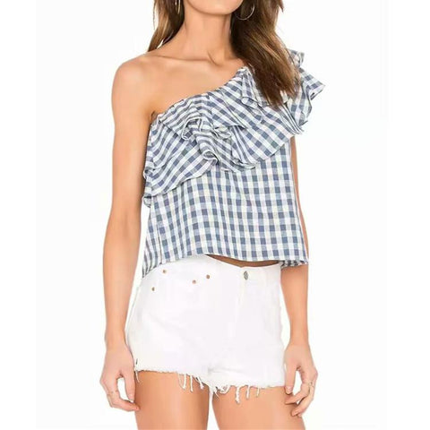 Blue & White Gingham Ruffle Top - Theone Apparel