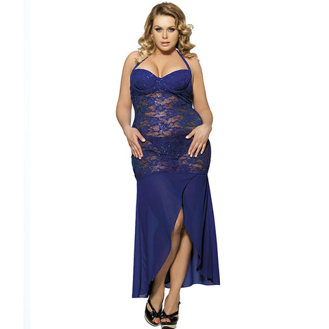 Plus Size Elegant Floor Length Lace Dress