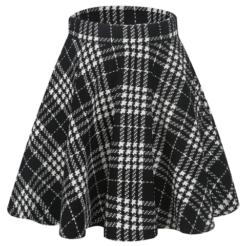 Patterned Banded Waist Flared Skirt
