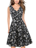Floral Surplice Sleeveless A-Line Dress