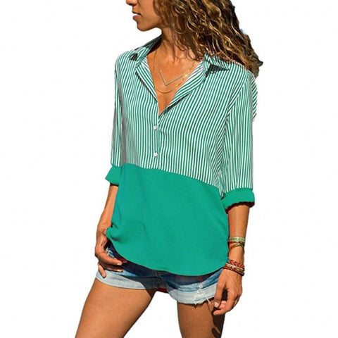 Stripe Blocked Collared Button-Front Blouse