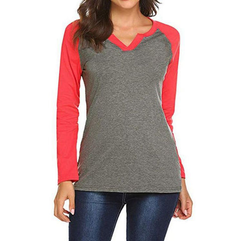 Two-Tone Notch Neck Raglan Tee