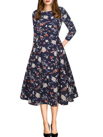 All-Over Floral Pleated A-Line Dress - Theone Apparel