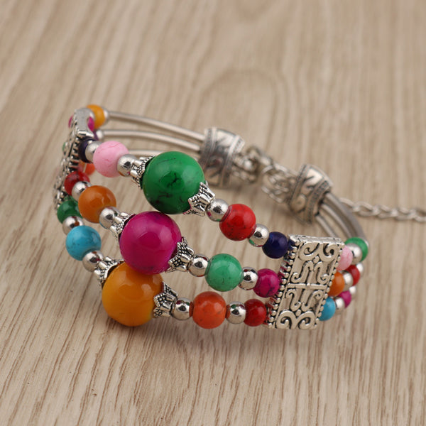 Three Tiered Blue Bead Bracelet Green/Orange - from $7.42