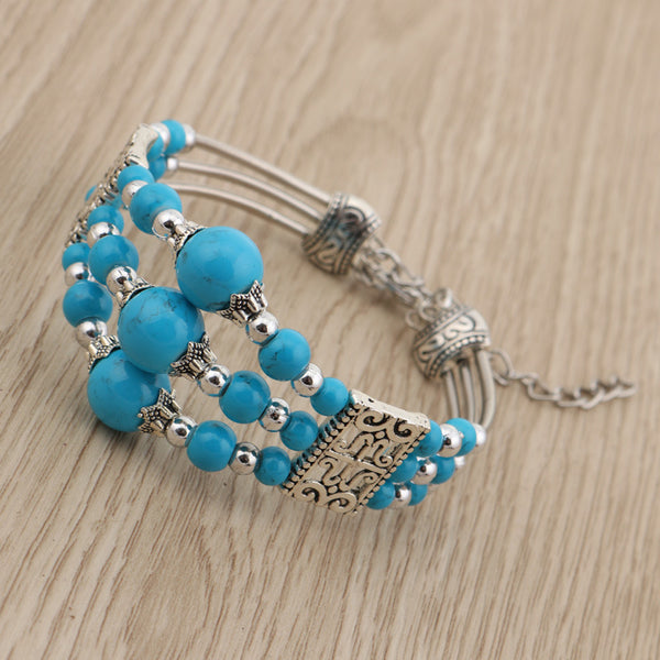 Three Tiered Blue Bead Bracelet Blue - from $7.42