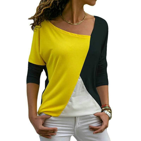 Black Yellow & White Asymmetrical Tee - Theone Apparel