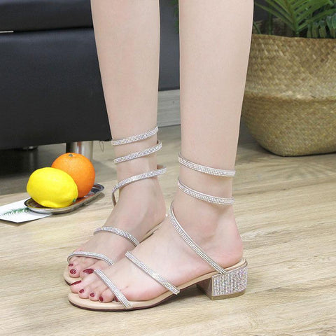 Ankle Wrap Rhinestone Strap Sandals - Theone Apparel