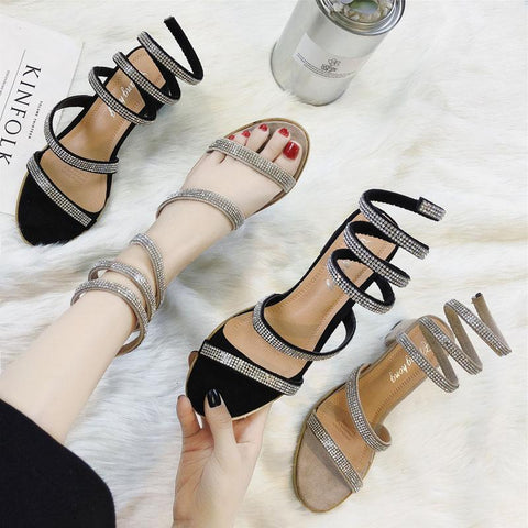 Ankle Wrap Sparkle Strap Sandals - Theone Apparel