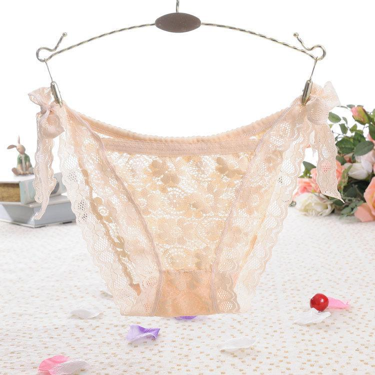 Side Tie Sheer Lace Hipster Panty