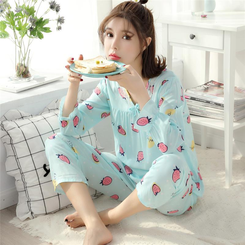 Ruffle Cuffs Floral Sleepwear Set