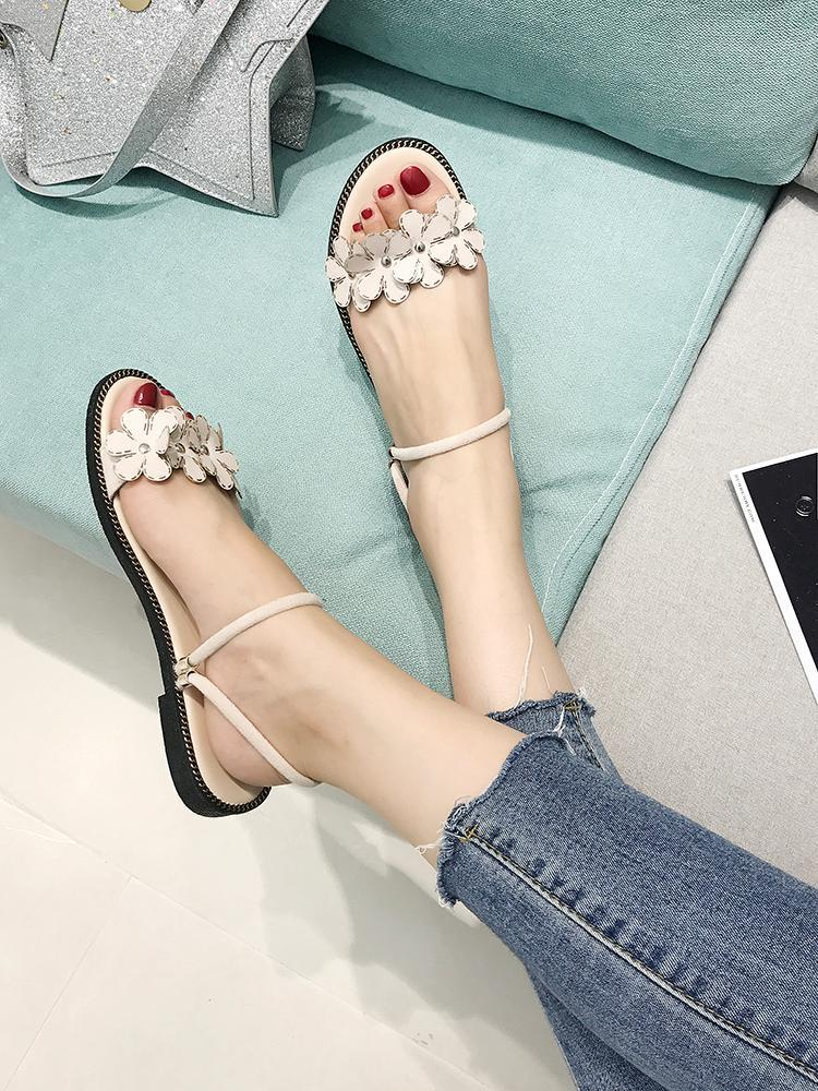 Floral Applique Ankle Strap Sandals