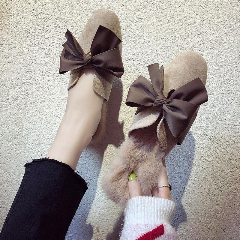 Fur Trim Floppy Bow Slippers