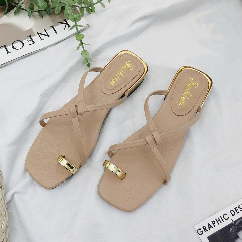 Golden Toe Slip On Sandals