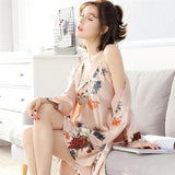 Satiny Robe with Floral Trim