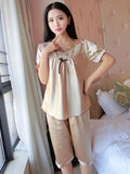 Short Sleeve Satiny Shorts PJ Set