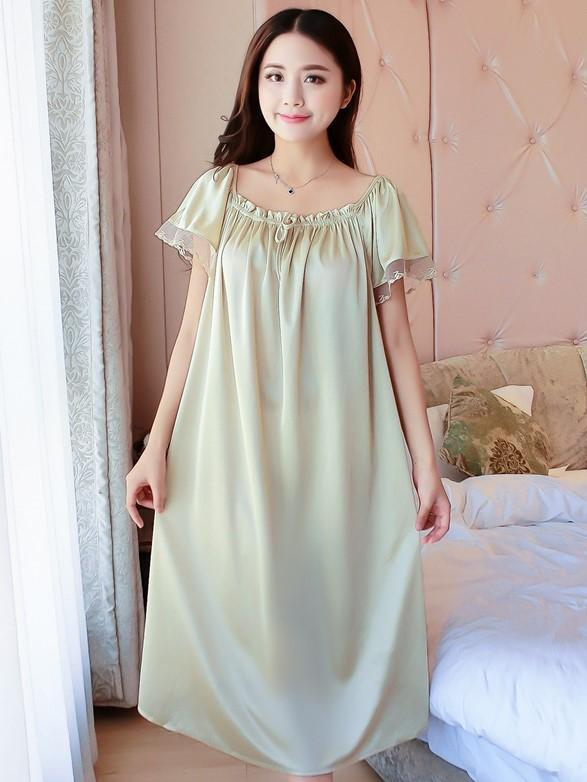 Silky Mesh Ruffle Nightgown