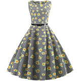 Belted Floral Print Retro Dress - Theone Apparel