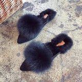 Big Fur Ball Slip On Slides - Theone Apparel