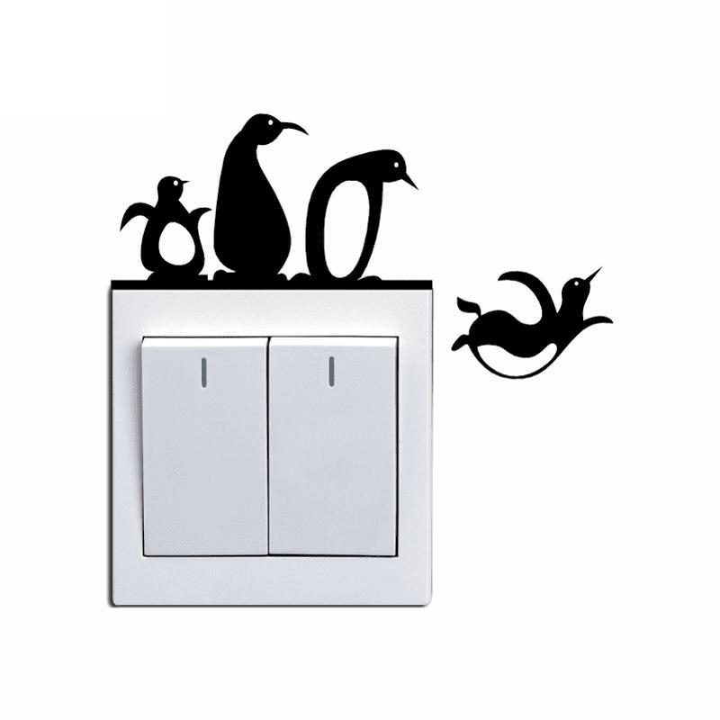 Adorable Penguin Light Switch Wall Sticker - Theone Apparel