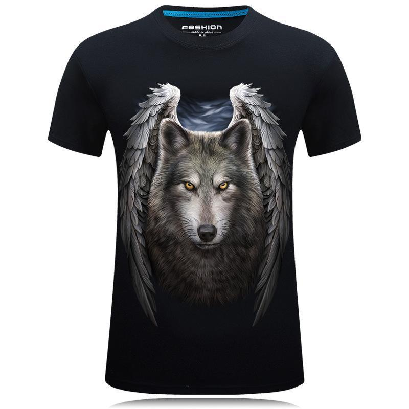Angelic Wolf With Wings Graphic Tee - Theone Apparel