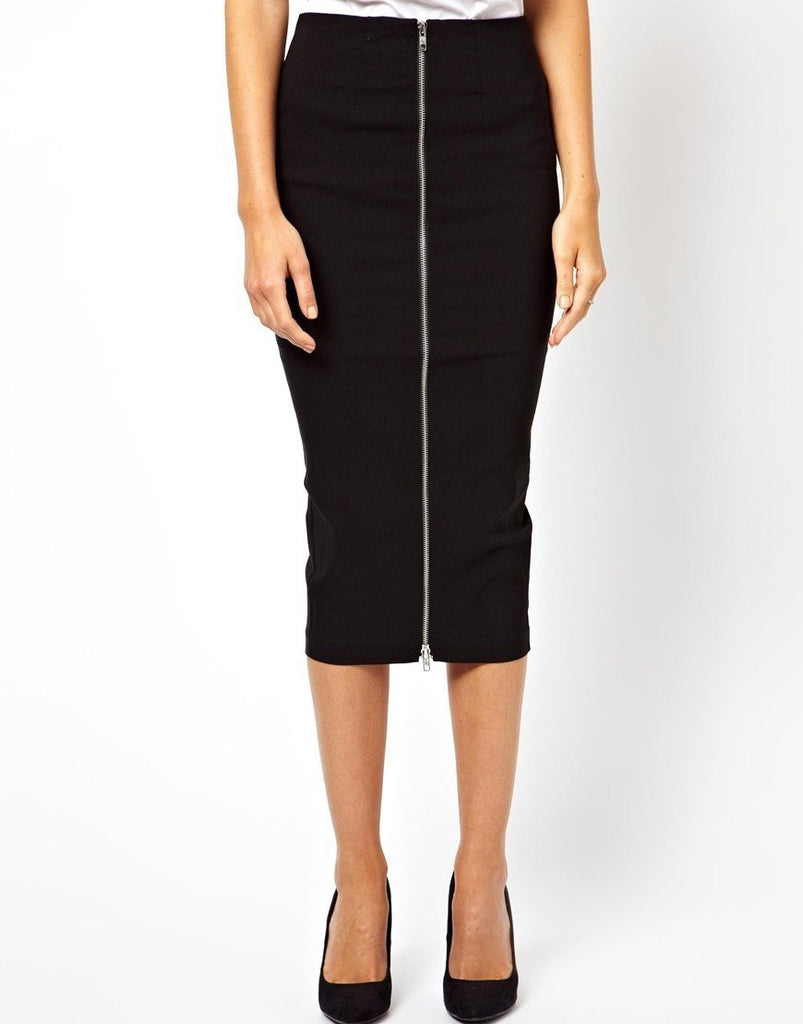 Back Pleat Zip Front Pencil Skirt - Theone Apparel
