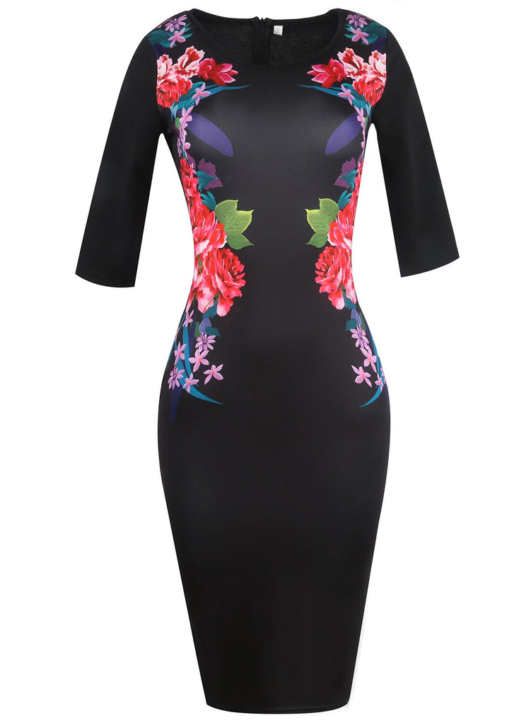 Black Floral Graphic Sheath Dress - Theone Apparel