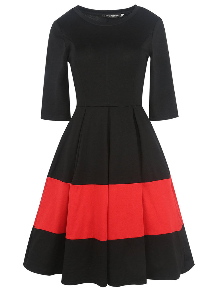 Black & Red Pleated A-Line Dress - Theone Apparel