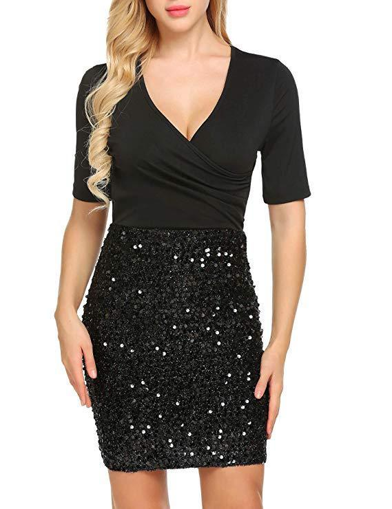 Black Sequin Skirt Short-Sleeve Dress - Theone Apparel