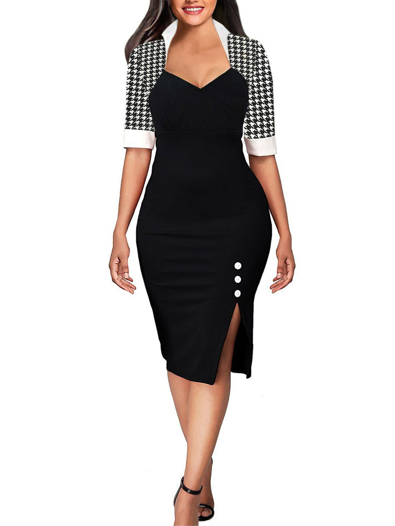 Black & White Houndstooth Sheath Dress - Theone Apparel