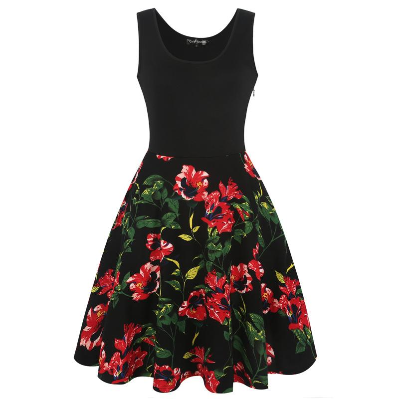 Blocked Floral Scoop Tank Dress - Theone Apparel