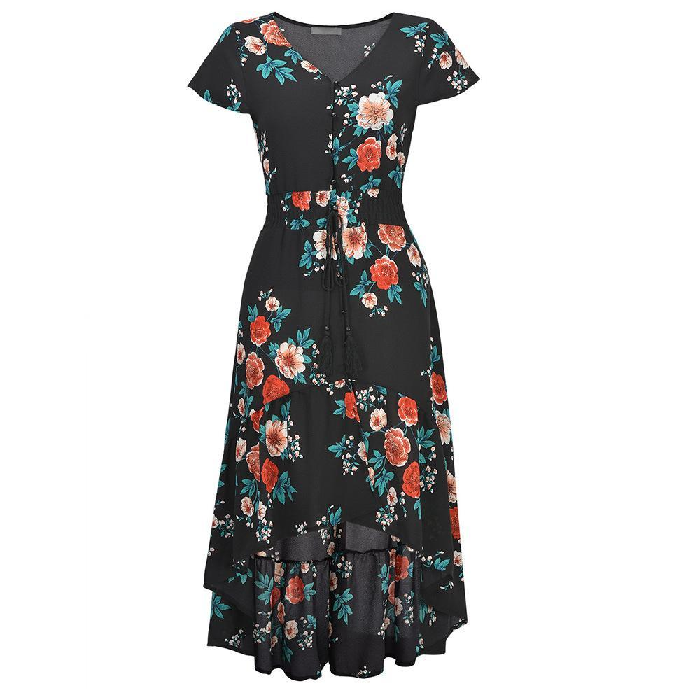 Boho Chic Floral Print High Low Dress - Theone Apparel