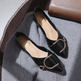 Buckled Up Pointed Toe Flats - Theone Apparel
