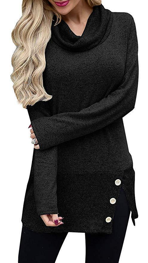 Button-Accent Side-Slit Cowl-Neck Tunic Sweater - Theone Apparel