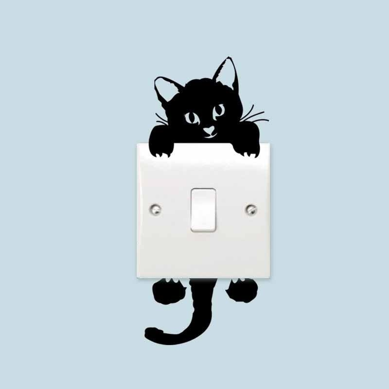 Cute Black Cat Waterproof Room Sticker - Theone Apparel