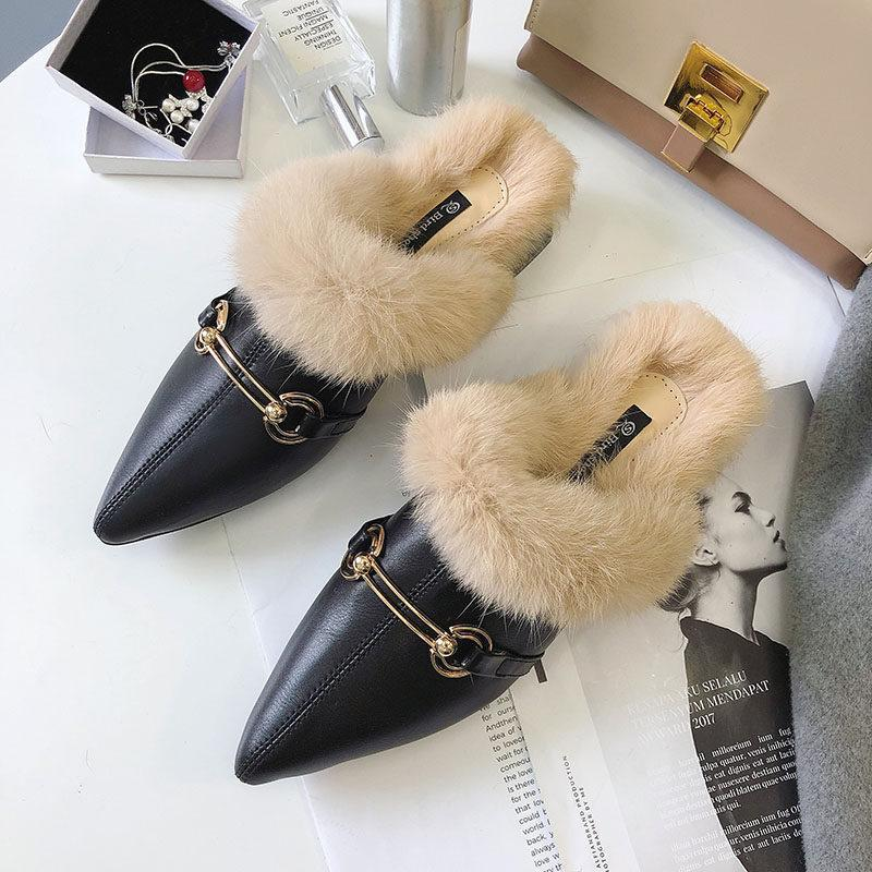 Faux Fur Lined Buckle Flats