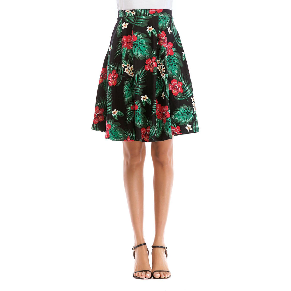 High Waist Watercolor Floral Skirt