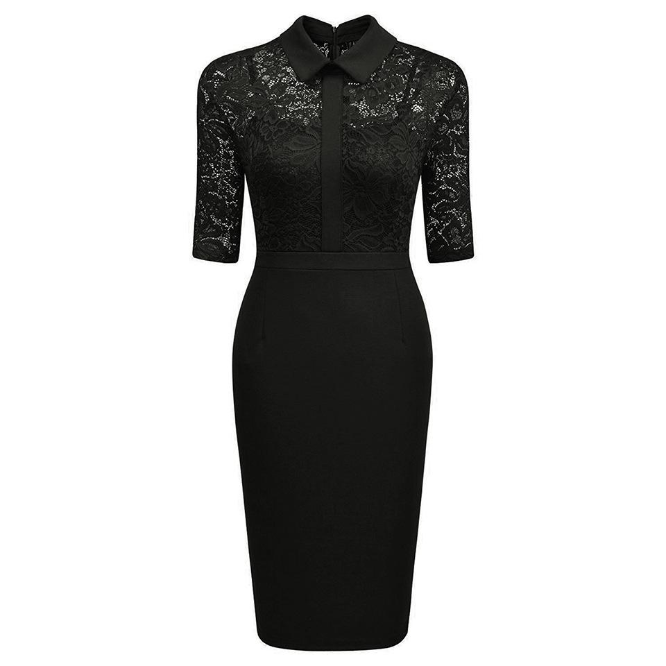 Lace Bodice Collared Sheath Dress
