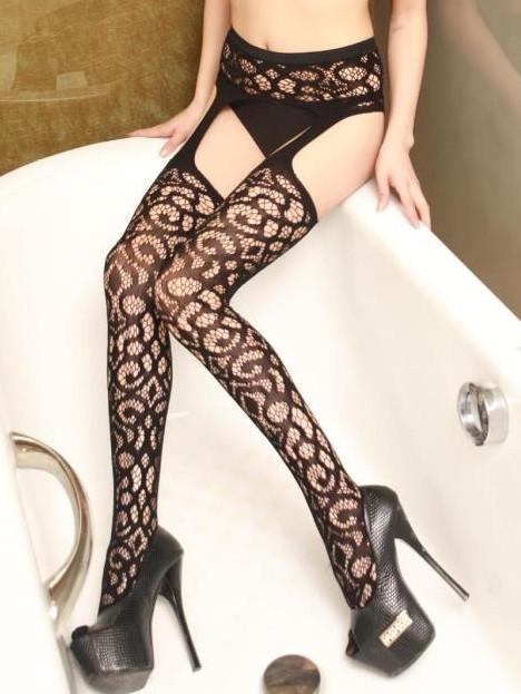 Leopard Thigh High Stockings with Garter Belt