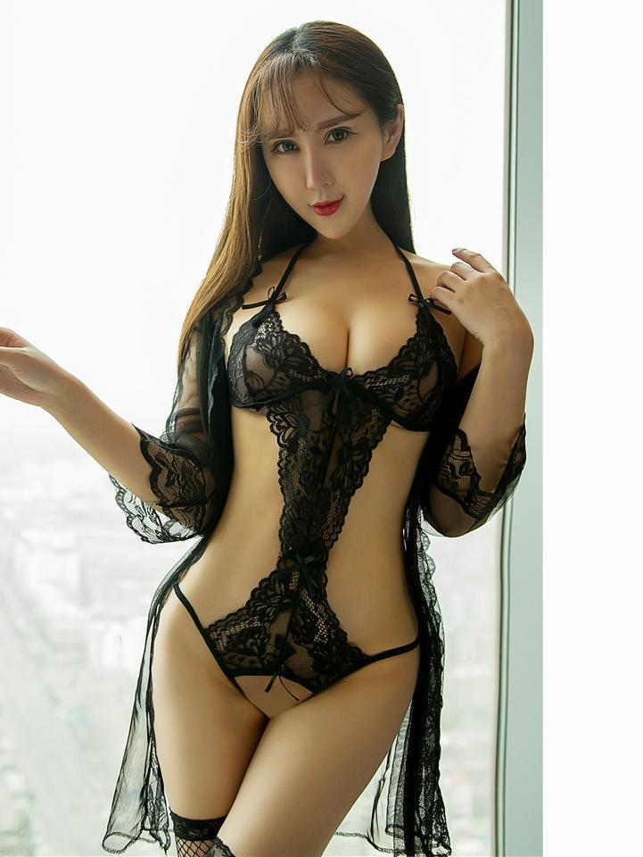 Mono-Cut Lace Teddy with Sheer Micro Robe