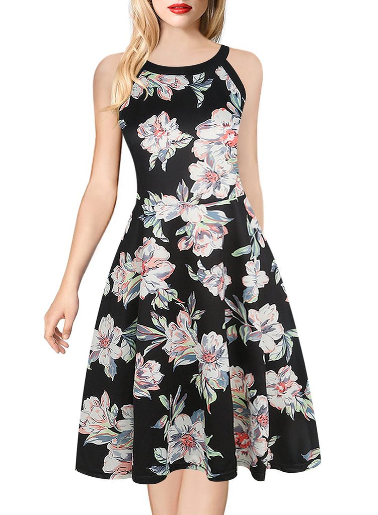 Black-Trim All-Over Print Sleeveless Dress - Theone Apparel